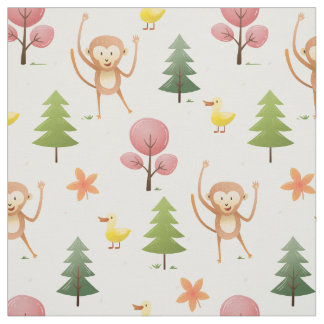 Lovely Monkey Yellow duck and trees  nursery Fabric