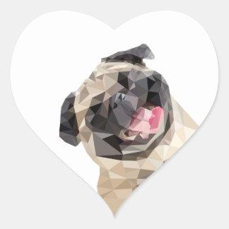 Lovely mops dog heart sticker