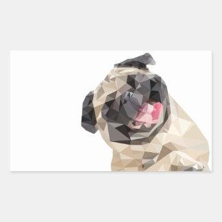 Lovely mops dog rectangular sticker
