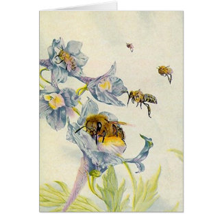 Lovely Morning Glory flowers Bees THANK YOU Card