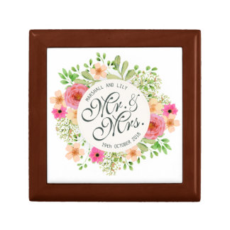 Lovely Mr. and Mrs. Floral Wedding Gift Box