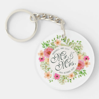 Lovely Mr. and Mrs. Floral Wedding Keychain