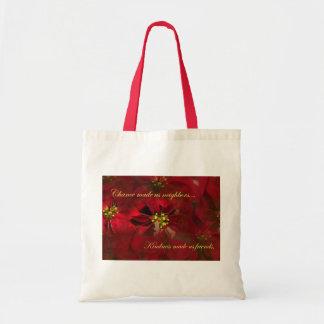 Lovely Neighbor Christmas Poinsettia Gift Tote Bag