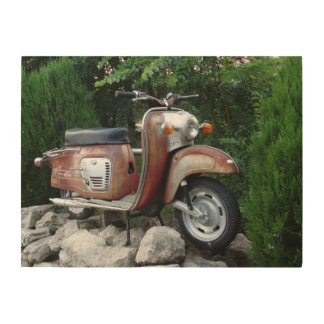 Lovely Old Scooter Wood Wall Art