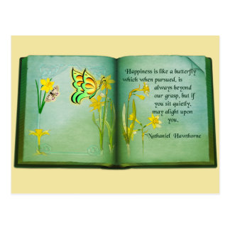 Lovely open book butterfly quote postcard