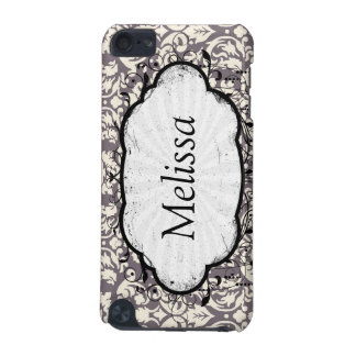 lovely ornate cream ivory on grey taupe damask iPod touch (5th generation) covers