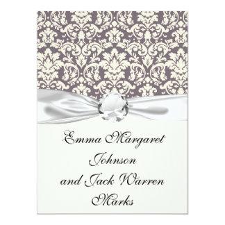 lovely ornate ivory on grey taupe damask 17 cm x 22 cm invitation card