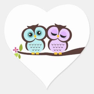 Lovely Owls Heart Sticker