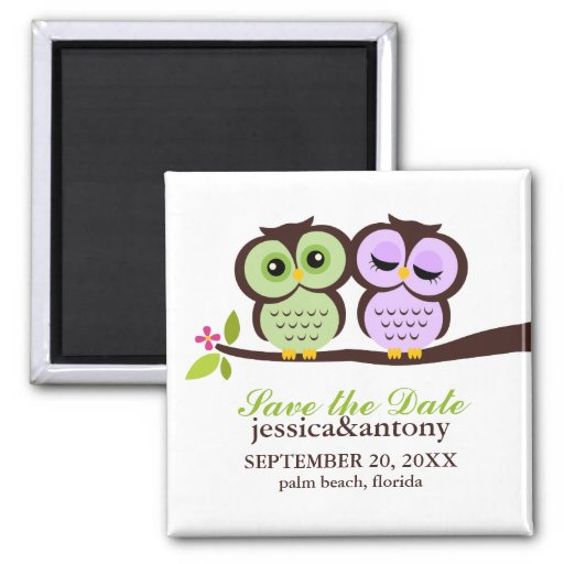 Lovely Owls Save the Date Fridge Magnets