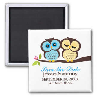 Lovely Owls Save the Date Refrigerator Magnets