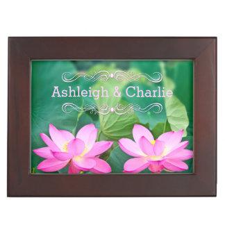 Lovely Pair Pink Lotus Couple Pond Green Leaves Keepsake Box
