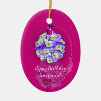 Lovely Pansy Atomizer  Birthday Party Ceramic Ornament