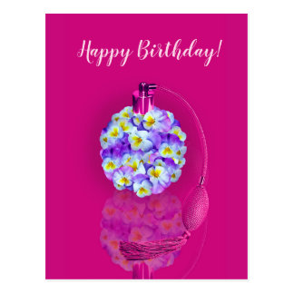 Lovely Pansy Atomizer Birthday Party Postcard