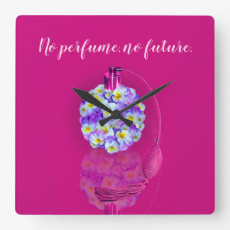 Lovely Pansy Atomizer Square Wall Clock