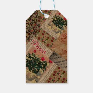 Lovely Parisian Rose Collage Tags