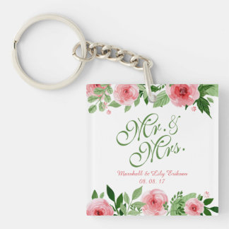 Lovely Personalized Floral Wedding Keychain