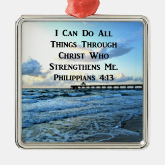 LOVELY PHILIPPIANS 4:13 BIBLE VERSE Silver-Colored SQUARE DECORATION