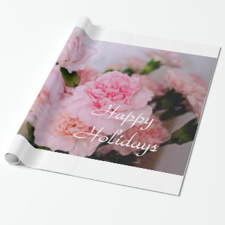 Lovely pink carnation flowers happy holidays gift wrapping paper