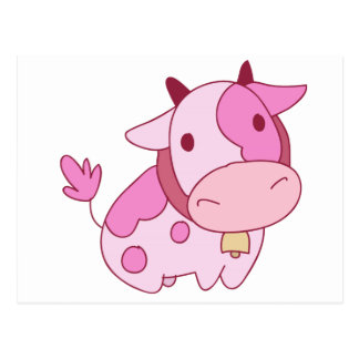 Lovely Pink Cartoon Cow Postcard
