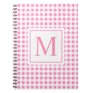 Lovely Pink Checkered Monogram | Notebook