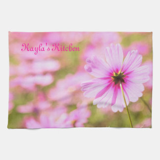 Lovely Pink Cosmos Field Flower Park Painterly Kitchen Towel