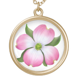 Lovely Pink Dogwood Flower Necklace