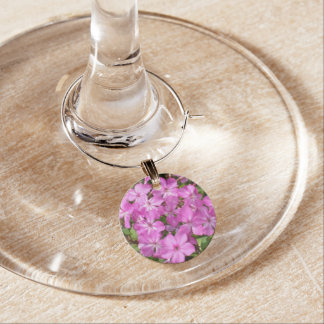 Lovely Pink Flowers Wine Charm