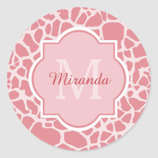 Lovely Pink Giraffe Pattern With Monogram and Name Round Sticker