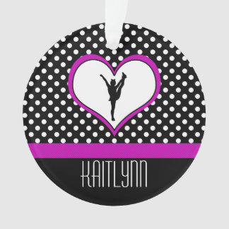 Lovely Pink Heart with Polka-Dots Cheer Ornament