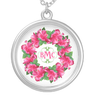 Lovely Pink Hibiscus Flowers Monogramed Silver Plated Necklace