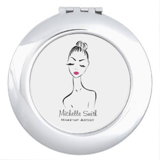 Lovely pink lips make up artist  branding compact mirrors