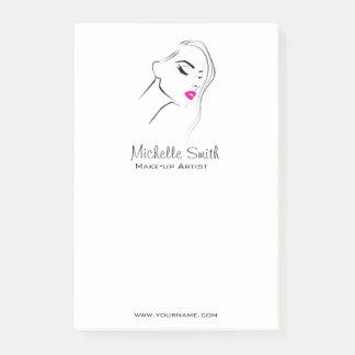 Lovely pink lips make up artist  branding post-it notes