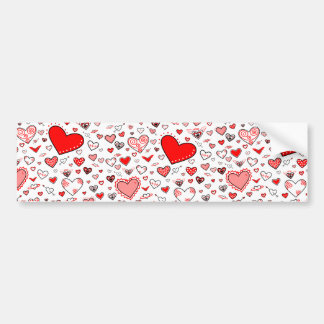 Lovely Pink & Red Heart Doodles Bumper Stickers