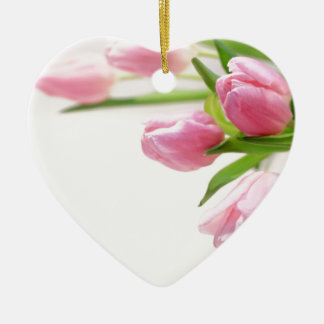Lovely pink tulips ceramic heart decoration