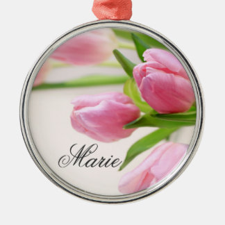 Lovely pink tulips Silver-Colored round decoration
