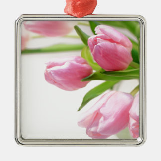 Lovely pink tulips Silver-Colored square decoration