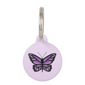 Lovely Purple Butterfly Pet Tag