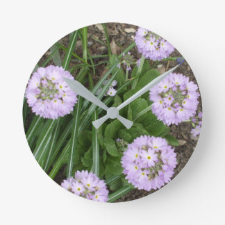 Lovely Purple Flowers Round Clock