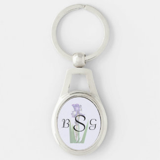 Lovely Purple Iris Silver-Colored Oval Key Ring