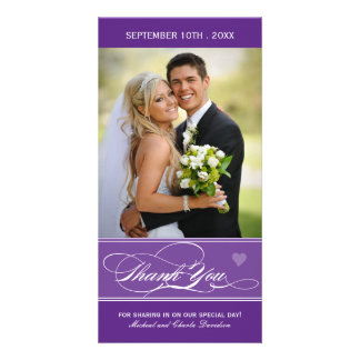 Lovely Purple Thank You Photo Card (4x8)