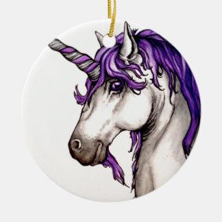 Lovely purple unicorn ceramic ornament