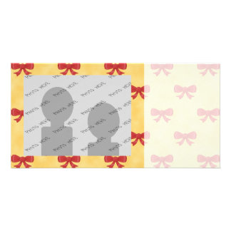 Lovely Red Bows on Golden Color Background Custom Photo Card