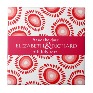 Lovely red funky flowers Save the date Tile