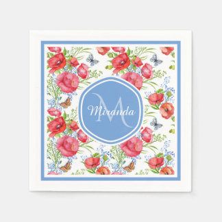 Lovely Red Poppies With Blue Butterflies and Name Disposable Napkin