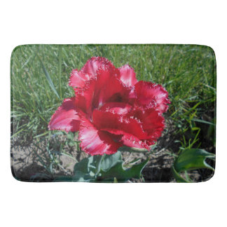 Lovely Red Tulip Bath Mat