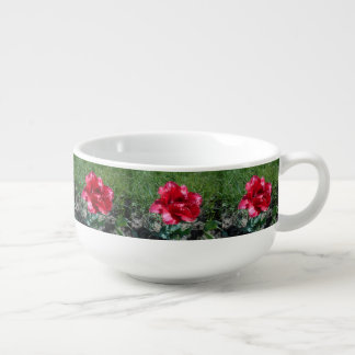 Lovely Red Tulip Soup Bowl With Handle