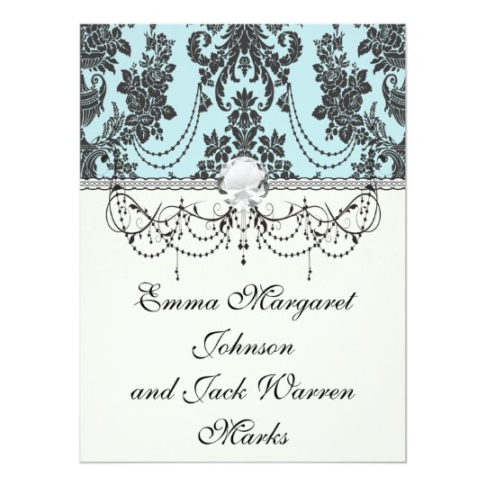 Lovely rose black and baby blue damask card