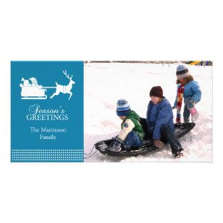 Lovely Santa Christmas Photo Card (Blue)