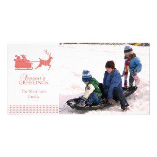 Lovely Santa Christmas Photo Card (Coral)