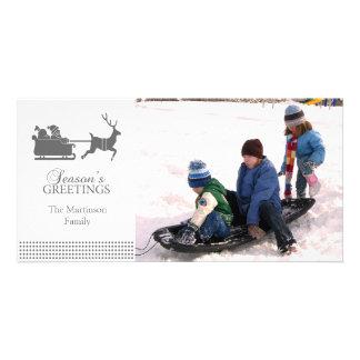 Lovely Santa Christmas Photo Card (Dark Gray)